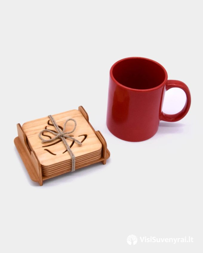 padėkliukai puodeliams su dėžute suvenyrai arbatos mėgėjui