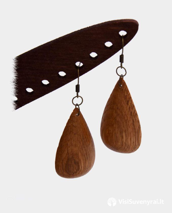 ąžuoliniai auskarai dovana iš medžio rankų darbo papuošalai juvelyrika