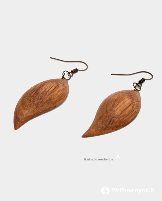 ąžuoliniai auskarai internetu rankų darbas auskarai mediniai auskarėliai iš medienos