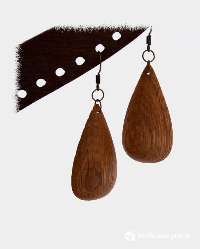 mediniai auskarai rankų darbo papuošalai iš medžio