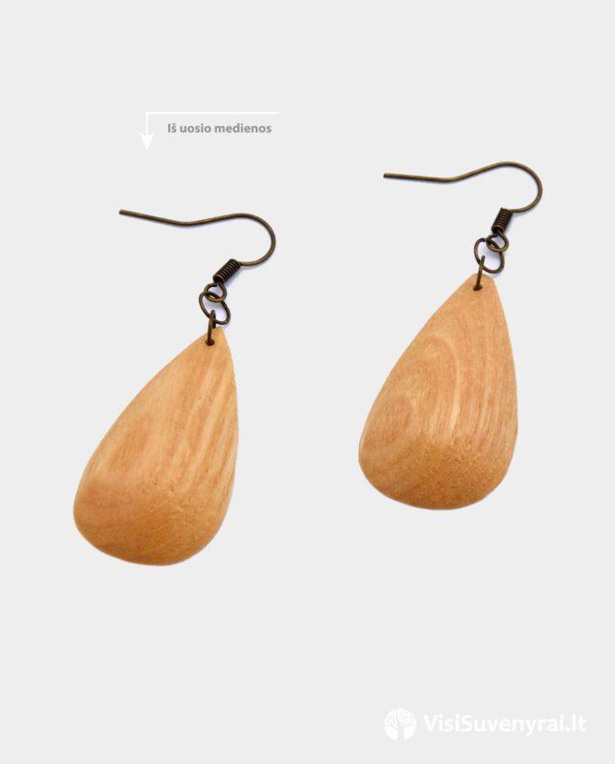 mediniai papuošalai auskarai iš medžio auskariukai lašelio formos auskarėliai