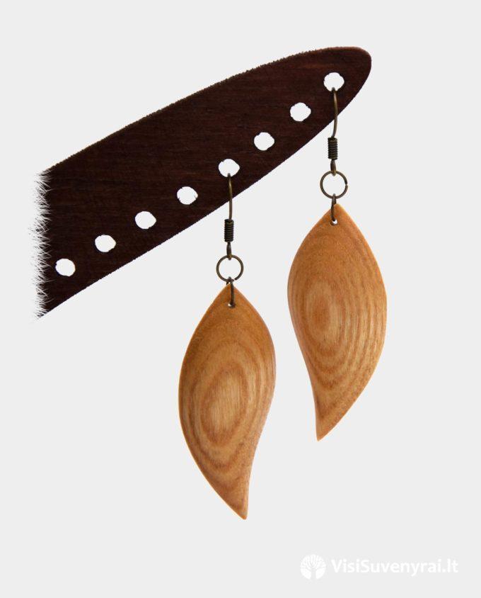 rankų darbo auskarai iš medžio pauošalai mediniai