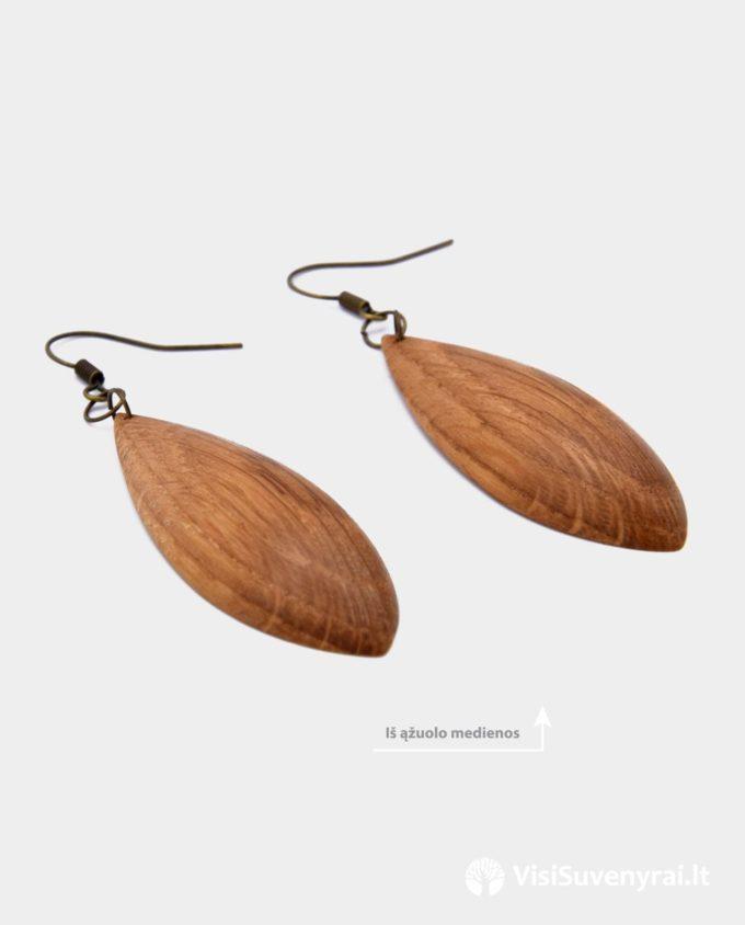 rankų darbo mediniai auskarai internetu papuošalai juvelyrika iš ąžuolo medžio dovanų idėja