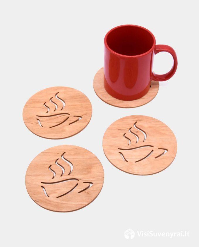 kavos padėkliukai iš medžio verslo dovanos suvenyrai su logotipu apvalūs stalo padėklai mediniai