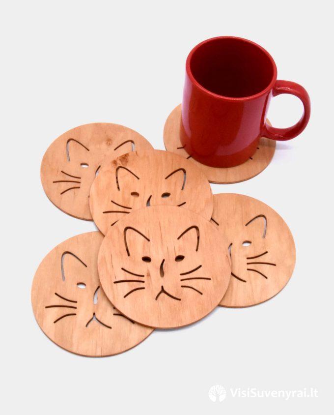 mediniai padėkliukai po puodeliu dovana kačių mylėtojams katinas suvenyras
