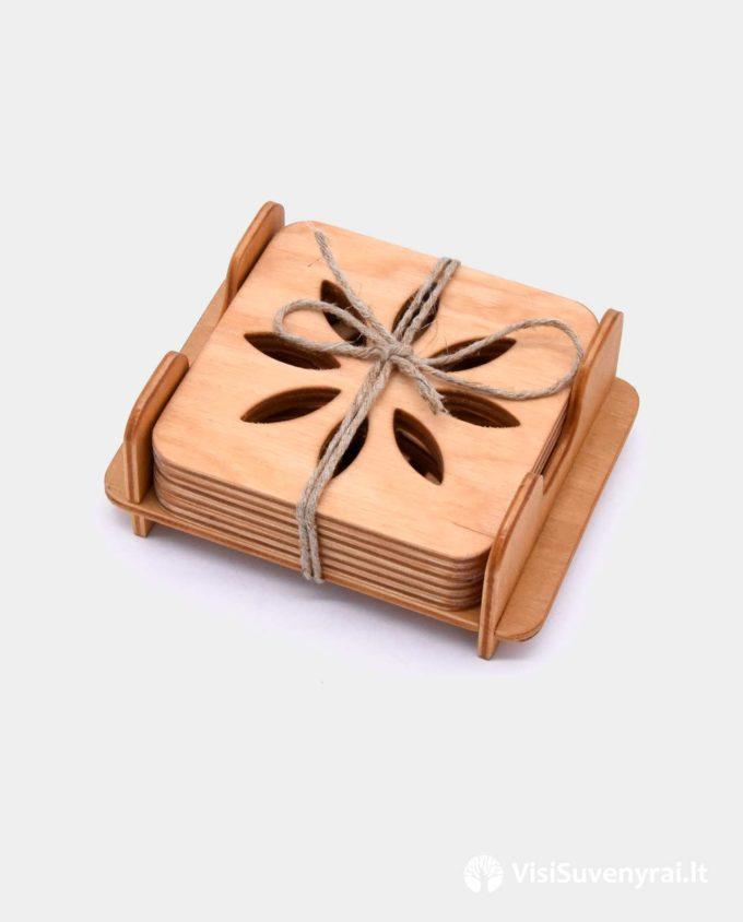 mediniai padėkliukai su dėžute suvenyrai iš medžio dovanos kavos mėgėjams