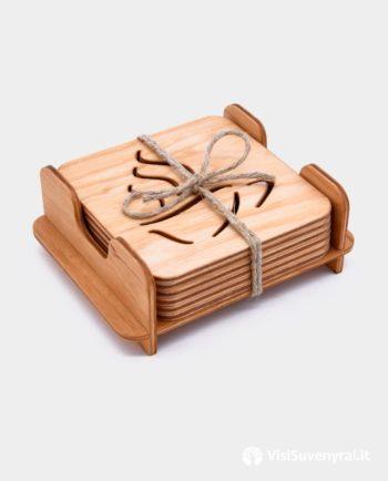 Padėkliukai puodeliams su dėžute - suvenyrai arbatos mėgėjams
